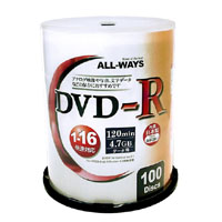 ALL WAYS オールウェイズ ALDR47-16X100PW (DVD-R 16倍速100枚)