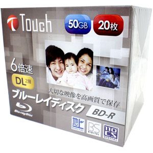 Touch 【訳あり:サポート(初期不良含む)無しにつき大特価】BR50DVJW20S6 BD-R BDR DL 50GB 6倍速 20枚