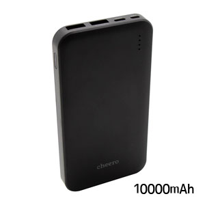 チーロ cheero モバイルバッテリー cheero Bloom 10000mAh Black CHE-107-BK